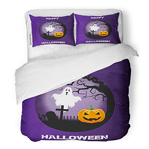 Emvency 3 Piece Duvet Cover Set Brushed Microfiber Fabric Breathable Bats Halloween Spooky Landscape in Cutout Blood Evil Bedding Set with 2 Pillow Covers Twin Size ()