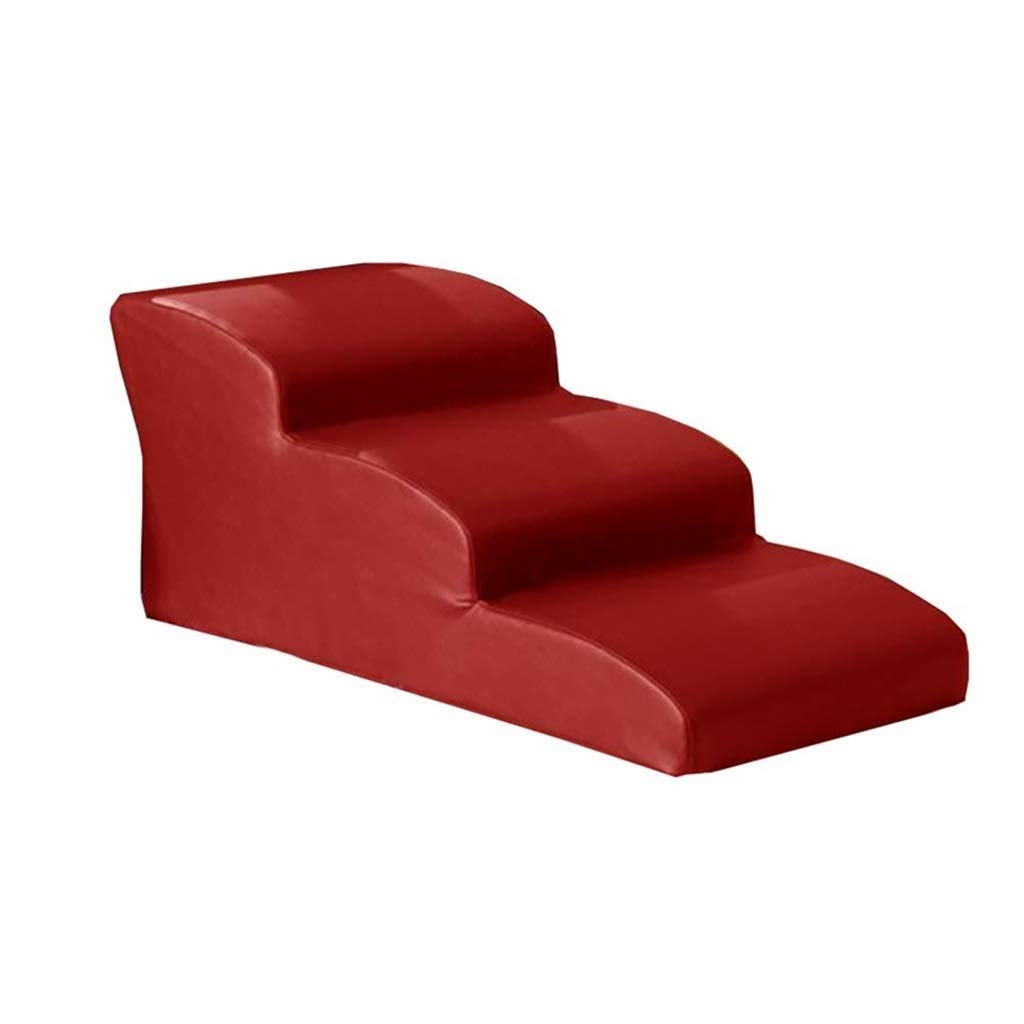 Red 3 Step Red 3 Step Pet Stairs Large Pet Ramp Dog Stair Kitten Steps for High Bed and Tall Sofa, Waterproof PU (color   Red, Size   3 Step)