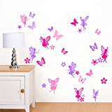 Rubybloom Designs Purple & Pink Fairies, Flowers & Butterflies - Girls Childrens Printed Art Vinyl Wall Stickers - Designed