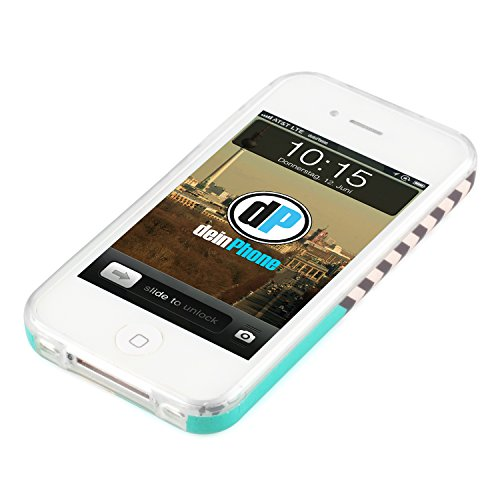 deinPhone Apple iPhone 4 4S SILIKON CASE Hülle Großer Bunter Anker Zick Zack Muster