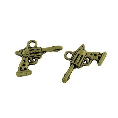 15 x Steampunk Bronze Antique Tibétain 20mm Breloques Pendentif (Arme À Feu) - (ZX11425) - Charming Beads