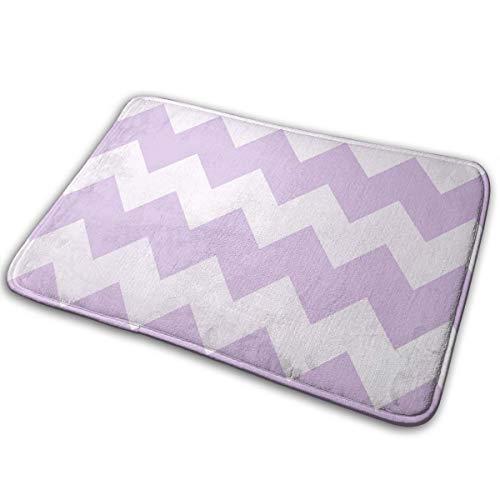 (SHNUFHBD Door Mat Special Shower Home Interior Exterior Floor Rug Coral Velvet Lavender Purple Chevron 15.7x23.6IN)