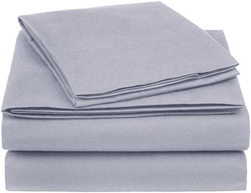 (AmazonBasics Essential Cotton Blend Sheet Set -Twin, Dark Grey)