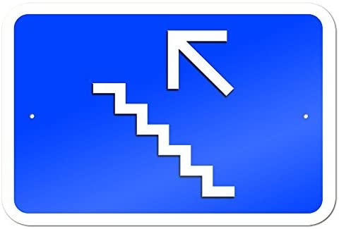 Upstairs Stairs Left Arrow 9 x 6 Aluminum Sign Metal Signs Vintage Road Signs Tin Plates Signs Decorative Plaque