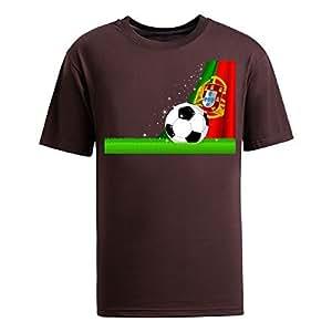 Custom Mens Cotton Short Sleeve Round Neck T-shirt,2014 Brazil FIFA World Cup Soccer Portugal brown by icecream design