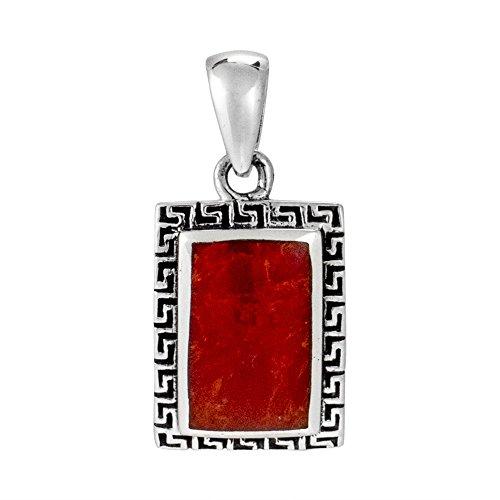 AeraVida Greek Key Frame Reconstructed Red Coral .925 Sterling Silver Pendant
