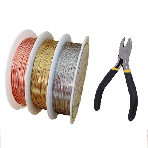 Jewelry Beading Wire,Artistic Craft Wire with Cutting Pliers Soft Copper Wire Roll for Jewelry Findings Wrapping Jewelry Making Supplies and Repair Beading Floral - Beading Floral