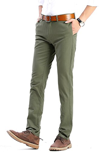 Olive Chino (FLY HAWK Mens Slim Fit Tapered Casual Pants 100% Cotton Work Pants Olive Drab Pants, Size 31 x 32)