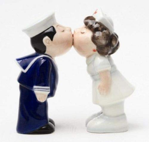 Figurine Cute Collectible Magnetic Salt Pepper Shakers Ceramic Sailor Kissing Nurse 4