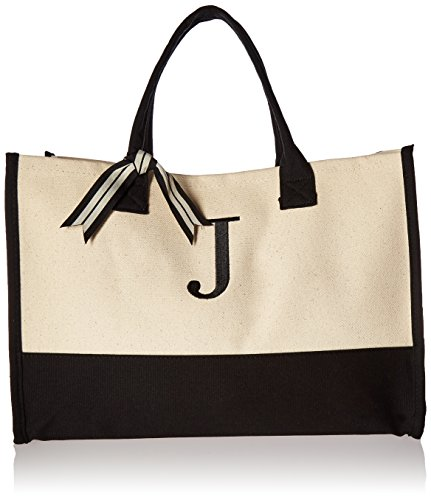 (Mud Pie J-Initial Canvas Tote )