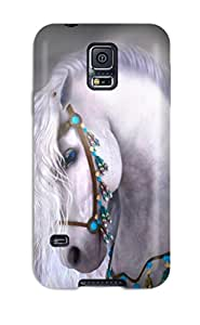 Special Hxy Skin Case Cover For Galaxy S5, Popular Horses Fast Art Running Desktop Draft Horse Animal War Horse Phone Case