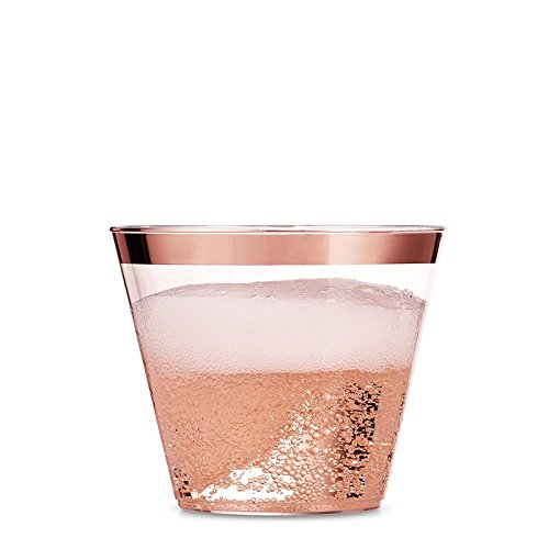 (100 Elegant Rose Gold Rimmed Cups – 9 oz Disposable Party Tumbler – Cocktail Plastic Cups – Fancy Wedding Reusable Cups – Hard Plastic Dessert Cups – 100 Rose Gold Trimmed Luxury Glass)