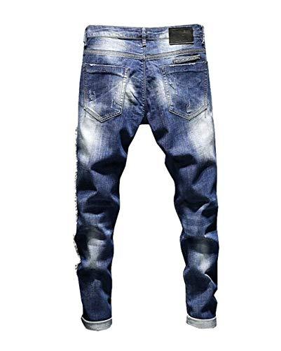 Leisure Blau Slim Pantalones Battercake Mezclilla De Jeans Fit Cómodo 1YBvw8qC