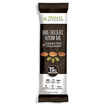 Amazon.com : Primal Kitchen   Dark Chocolate Almond Collagen Protein Bars,  12 Grams Of Protein, Paleo Approved (Pack Of 12, 1.7 Oz) : Grocery U0026  Gourmet Food