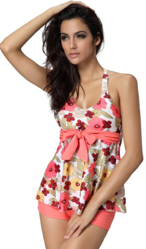 Women's 2 Piece Floral Print Halter Neck Tankini Top with Shorts