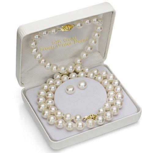 14k Yellow Gold 10-10.5mm White Freshwater Cultured Pearl Necklace 18'', Bracelet 7'', Stud Earrings by La Regis Jewelry (Image #1)