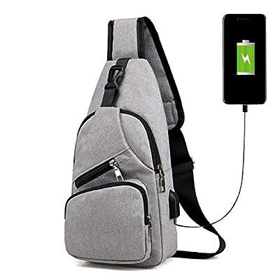 Male Leisure Sling Chest Pack Crossbody Bags for Men Messenger Canvas USB Charging Leather Handbag Shoulder Bags