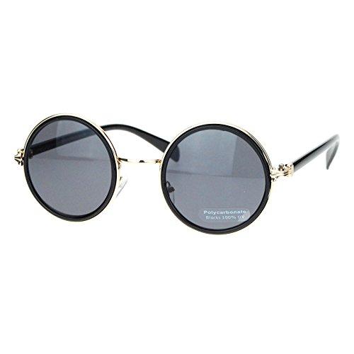 Retro Victorian Hinge Round Circle Lens Designer Fashion Sunglasses Black (1920s Sunglasses)