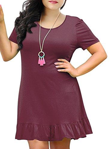 Nemidor Women's Simply Plus Size Ruffled Casual Dress with Pocket (Purple, 16W)