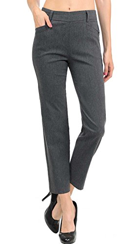 VIV Collection New Women's Straight Fit Trouser Ankle Pants (X-Large, Heather Charcoal)