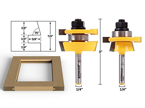 - Yonico 12249q Shaker 2 Bit Rail and Stile Router Bit Set 1/4-Inch Shank