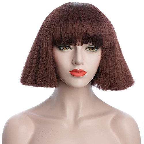 karlery 8 inches Blonde and Brown Short Straight Wigs with Bangs (Brown)