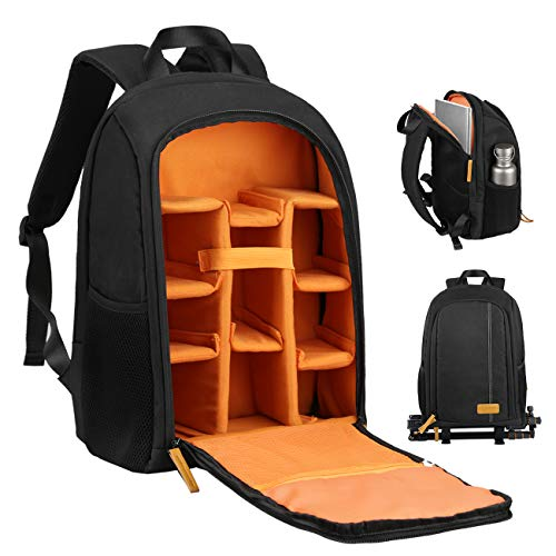 TARION Camera Backpack Bag with Laptop Compartment 15 Inch for Many Cameras with Tripod Holder, Rain Cover, Padded Custom Dividers, Lightweight and Durable