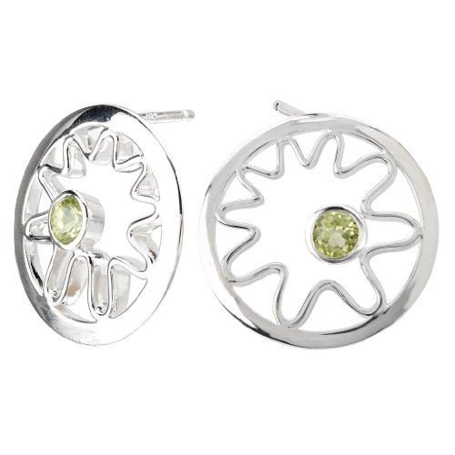 925 Sterling Silver High-Polish Finish Swirl Earrings with (Element Peridot Ring)