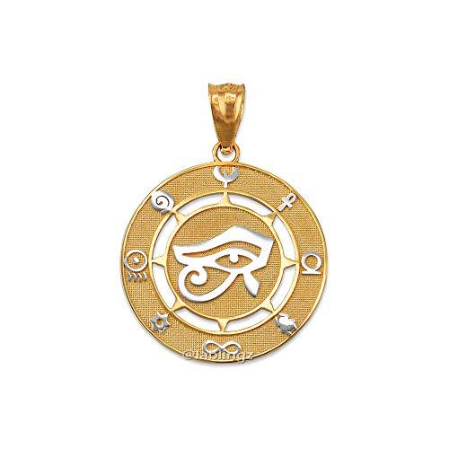 LA BLINGZ 14K Two-Tone Yellow Gold Eye of Horus Good Luck Amulet Pendant (Eye Pendant Circle)