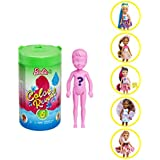 Barbie Color Reveal Chelsea Doll with 6 Surprises: Water Reveals Doll's Look and Creates Color Change on Leotard Graphic;  Skirt, Shoes and Accessory; Food-Themed; Gift for Kids 3 Years and Older