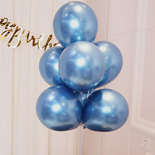 AULE Blue Metallic Chrome Latex Balloons 12 Inch 50 Pcs Happy Birthday Baby Showers Bridal Shower Weddings Bachelorette Party Decorations