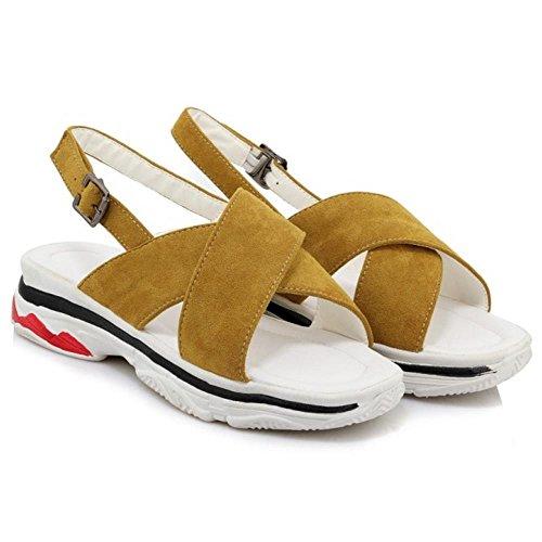 Scarpe Donne Sandali alla Moda TAOFFEN Slingback Yellow 4xzUfqw