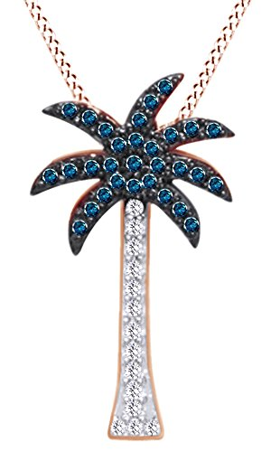 s 14K Rose Gold 0.3 CT Round White & Blue Natural Diamond Palm Tree Pendant Necklace ()