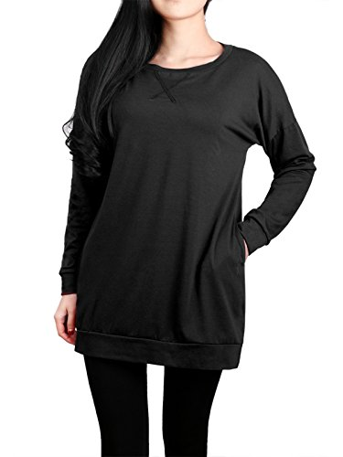 DSUK Sweatshirts Tunic For Women, Ladies Long Sleeve Pocket Plain-Colored Crew Neck Form-Fitting Casual Style Tunic Tops Cute Comfortable and Soft T Shirt Black XL