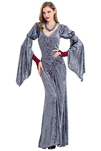 Dark Paradise Women's Medieval Velvet Devil Cosplay Dress Vampire Queen Costume Necklace Gray ()