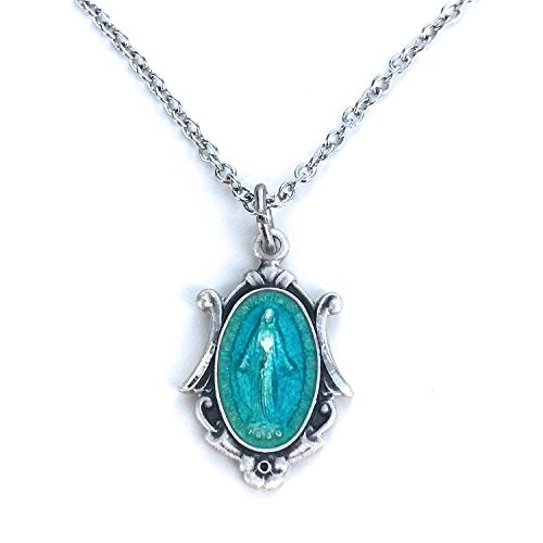 TrueFaithJewelry Sterling Silver with Blue Enamel Miraculous Medal, 5/8 Inch