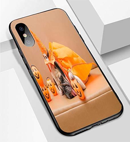 iPhone X/XS Ultra-Thin Phone case Pug Dog with Halloween Costume Sleep on Sofa Anti-Drop Anti-Slip Soft Convenient Protective Shell