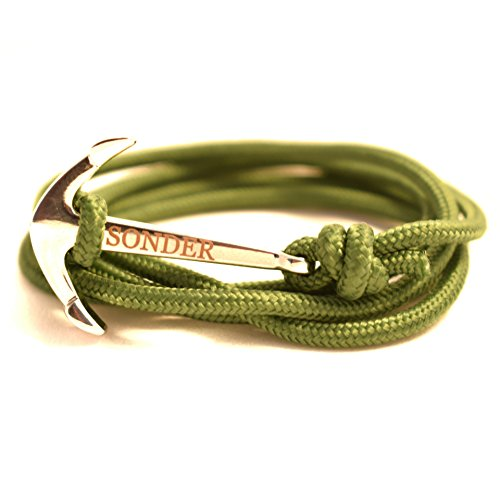(SONDER Anchor Bracelet Fully Adjustable Engraved Rope Bracelet Punk Fashion Accessory with Stainless Steel Finish Nautical Anchor on Paracord Nylon Weave (Army Green with Steel))