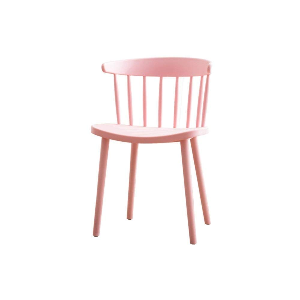 Pink BRNEBN Chair-European-Style Modern Chair Simple Plastic Leisure Chair Home to Discuss Back Dining Chair Home Convenient (color   Dark Coffee color)