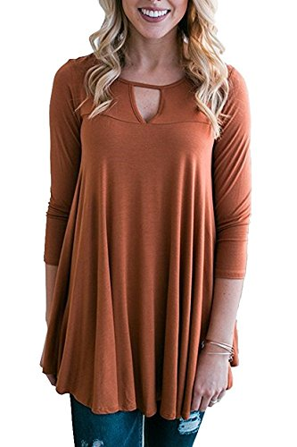8ea55dc5d48 Image Unavailable. Image not available for. Color  Ybenlow Womens Choker V  Neck Pleated Tunic Tops 3 4 Sleeve Cut Out Casual Loose