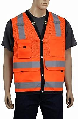 5dcefb681fbec Surveyor Vest Class 2 with Back Pocket Safety Depot Hi Vis Reflective  Breathable Mesh Deep Pockets Orange or Lime (XL