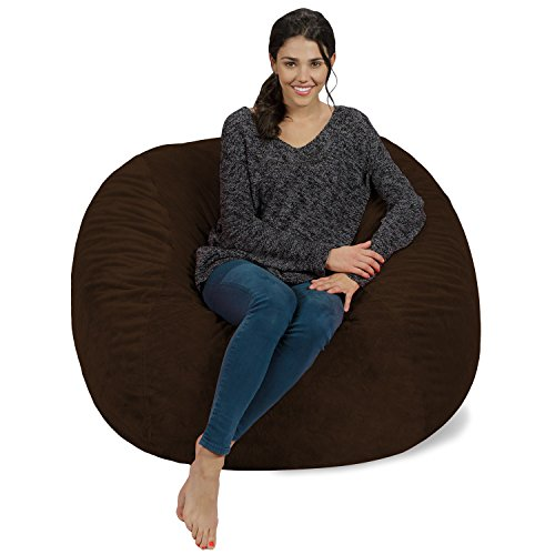 Chill Sack Memory Foam Bean Bag Chair, 4-Feet, Brown Furry (Brown Bean Bag Chair)