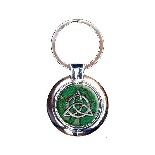 Celtic Trinity Cirlce Green Clovers Keychain Key Ring