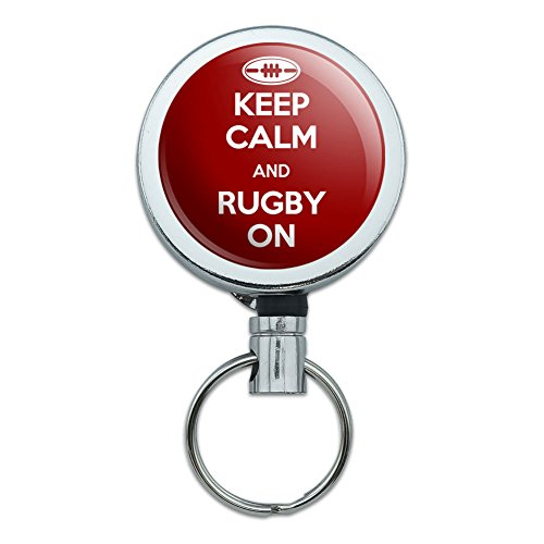 Rugby Badge (Metal Retractable Reel ID Badge Key Holder with Belt Clip Keep Calm and P-W - Rugby On Sports)