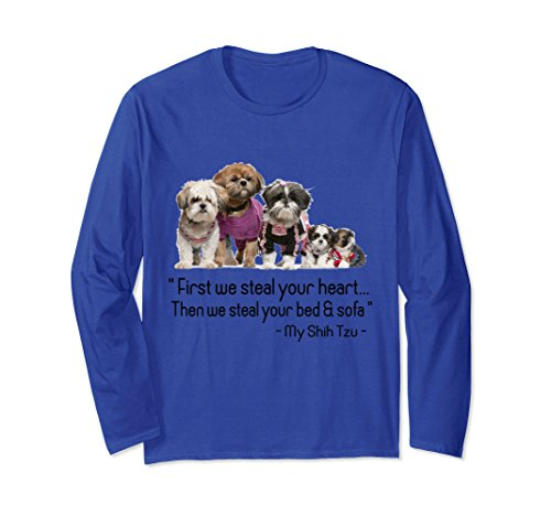 Unisex Shih Tzu quote Shirt Small Royal Blue