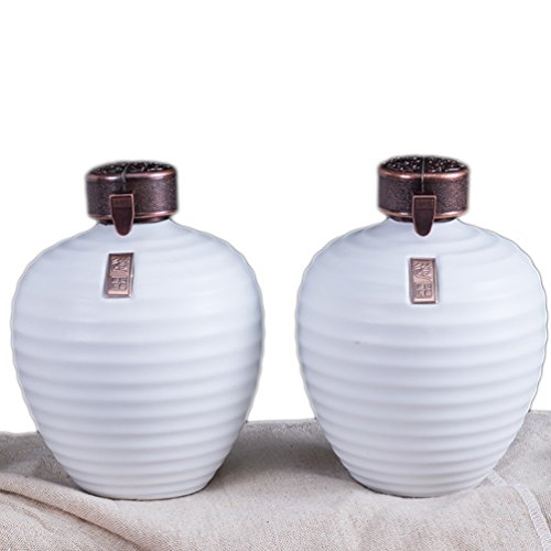 Linshing Ancient Chinese Style Retro Porcelain White Wine Jar Storage Container with Lid & Box 陶瓷白酒坛子 (2pcs white 0.5L capacity+2pcs black 0.5L capacity+box) by Linshing-by (Image #6)