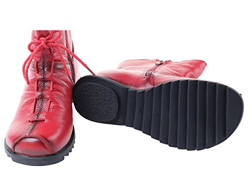 Mordenmiss red Boot 2 Toe Zipper Leather Ankle Cap Side Style fleece Women's gngqvWSB