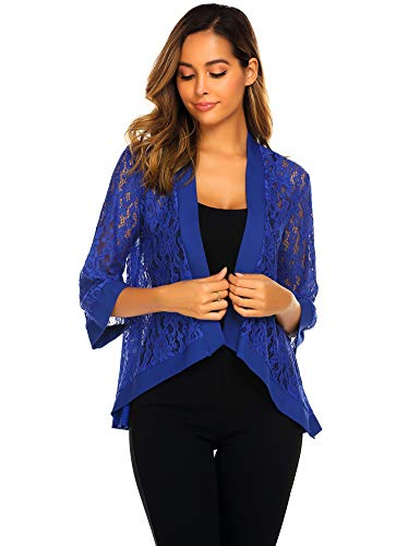 (Zeagoo Women's Casual Lace Crochet Cardigan 3 4 Sleeve Sheer Cover Up Jacket Plus Size Blue )