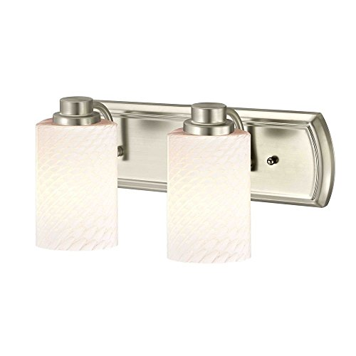 2-Light Vanity Light in Satin Nickel with White Cylinder Art Glass ()