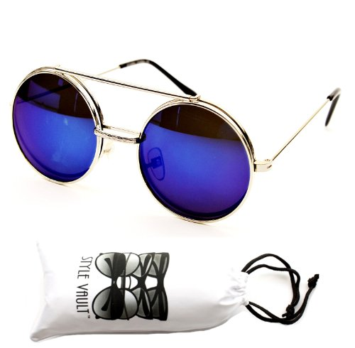 """V137-vp Flip up /Out Round Metal Sunglasses 2"""" Lens (6006RV silver-blue With White SV Pouch)"""